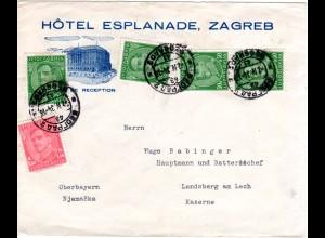 Jugoslawien 1934, 5 Marken auf Zagreb Hotel Bilder Brief ab Belgrad