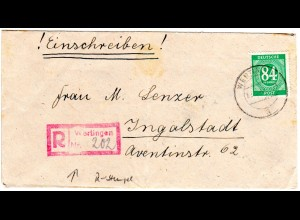 1947, Not-Reko Stpl. WERTINGEN auf Brief m. EF 84 Pf.