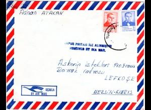Zypern 1983, L2 ...RECEIVED BY SEA MAIL auf Türkei Luftpostbrief n. Lefkosa