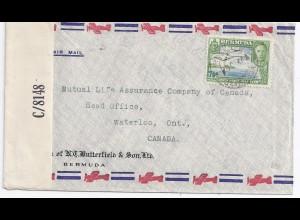 Bermuda 1944, 7 1/2 d. auf Luftpost Zensur Brief n. Canada. #1868