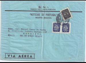 Portugal 1951, Paar 1,75+0,5 C. auf Luftpost Drucksache Brief n Brasilien. #1671