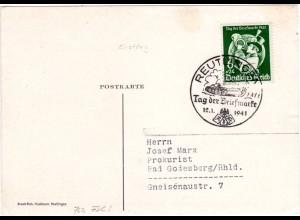 DR 1941, 6+24 Pf. Tag der Briefmarke auf Karte m. Ersttagsstpl. v. Reutlingen