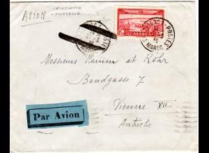 Marokko 1936, Luftpost Annullierungsstpl. auf Brief v. Casablanca n. Österreich