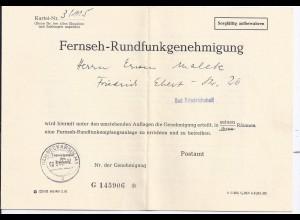BRD 1962, TV Fernseh Rundfunk Genehmigung gest. Neckarsulm. Post Formular. #1131