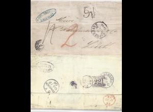 """Dänemark GB 1863, Porto Brief v. """"1"""" Kopenhagen m. vielen Stempeln. #1451"""
