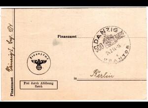 Danzig c KRANTOR 1944, Sonderstpl. auf Amts Brief Frei durch Ablösung