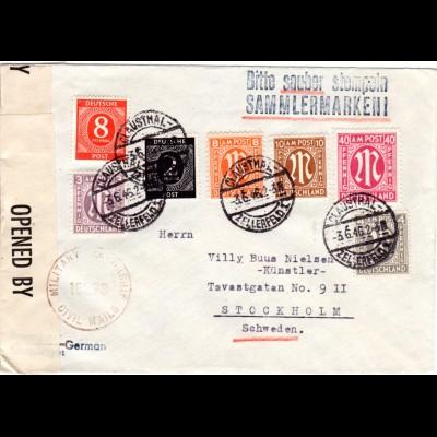 1946, 7 Marken auf portorichtigem Brief v. Clausthal-Zellerfeld n. Schweden