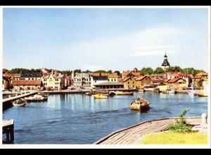 Schweden, Västervik Fiskarhamnen, ungebr. großformatige Farb-AK