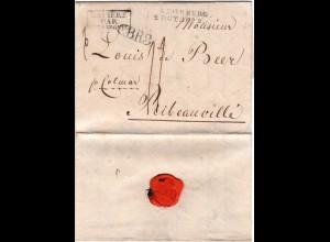 Bayern 1822, L2 AUGSBURG u. CBR3 auf Porto Brief ins Elsass, Frankreich