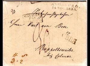 Bayern 1825, L2 AUGSBURG u. CBR3 auf Porto Brief ins Elsass, Frankreich