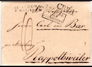 Bayern 1824, L2 AUGSBURG u. CBR3 auf Porto Brief ins Elsass, Frankreich