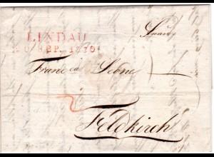 Bayern 1830, roter L2 LINDAU auf Brief n. Feldkirch, Österreich