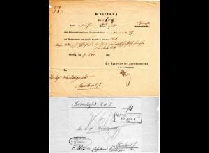 Bayern 1876, R3 Nürnberg Stadt Nm. rücks. angebrachter Briefteil auf Postschein
