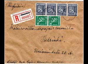 Finnland 1943, Kuokijoki, überschriebener Not Reko Zettel auf Brief m. 6 Marken