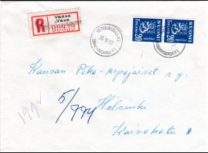 Finnland 1950, VETOKANNASHI, überstempelter Not Reko Zettel auf Brief m. 2x20 P.