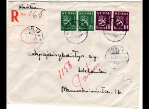 Finnland 1947, POHJA, eingestempelter großer Reko Zettel auf Brief m. 4 Marken