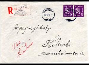 Finnland 1946, YLIVIESKA, eingestempelter Reko Zettel auf Brief m. 2x8 M.