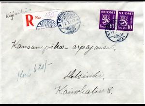 Finnland 1947, SOTKAMO, eingestempelter Reko Zettel auf Brief m. 2x10 M.