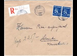 Finnland 1948, HAAPAVESI, eingestempelter Reko Zettel auf Brief m. 2x12 M.