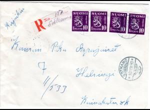 Finnland 1950, SOTKAMO, handschriftlicher Reko Zettel auf Brief m. 4x10 M.