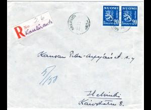 Finnland 1951, KAULIRANTA, handschriftlicher Reko Zettel auf Brief m. Paar 20 M.