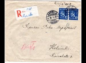 Finnland 1948, ARPELA, handschriftlicher Reko Zettel auf Brief m. Paar 12 M.