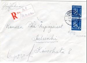 Finnland 1949, NUMMELA, handschriftlicher Reko Zettel auf Brief m. Paar 15 M.