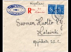 Finnland 1945, HAUHO, handschriftlicher Reko Zettel auf Brief m. Paar 5 M.