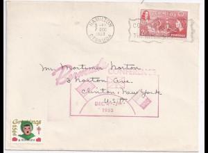 Bermuda 1953, 2 1/2 d. auf Brief m. Conference Stempel u. Vignette.