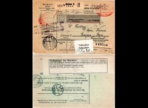 DR 1930, GUBEN Gebühr bezahlt in rot auf Paketkarte n. Finnland m. rs. Aufkleber