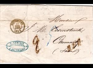 """Belgien 1855, L1 B.2e.R. auf Porto Brief v. Bruxelles n. Sachsen. Portostpl. """"2"""""""