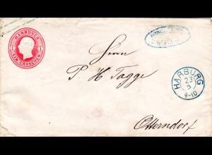 Hannover 1864, 1 Gr. Ganzsache v. K2 HARBURG n. Otterndorf