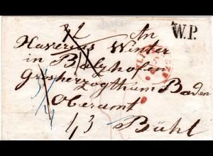 NL 1850, roter K1 VLISSINGEN u. W.P. auf Porto Brief nach Bühl in Baden.