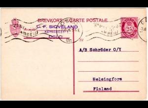 Norwegen P61, 25 öre Ganzsache, gebr. 1926 v. Oslo n. Finnland