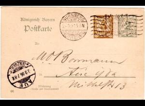 Bayern 1906, Sonderstpl. Nürnberg Deutsch Philatelistentag auf 2+3 Pf. Ganzsache