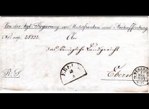 Bayern 1857, OPD Stpl. Würzburg u. HKS Ebern auf Dienst Brief.