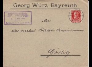 """Bayern 1918, Firmen Brief v. Bayreuth m Cachet """"Erlaubnisschein f. Handel"""" #1705"""