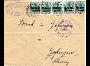 Dt. Besetzung Belgien 1916, 5x5 C. auf Zensur Brief v. Verviers i.d. Schweiz