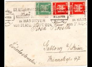 DR 1924, Maschinen Werbe Stpl. 63. Katholiken Gen.Vers. auf Brief v. Hannover