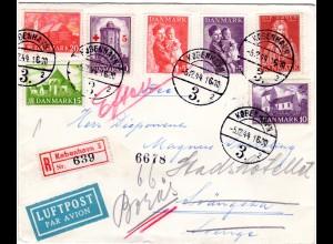 Dänemark 1944, 7 Marken auf Luftpost Reko Zensur Brief v. Kopenhagen n. Schweden
