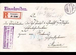 DR 1906, Frei lt. Avers No.5 Min. Fin. u. Eisenbahn auf Reko Brief v. Darmstadt