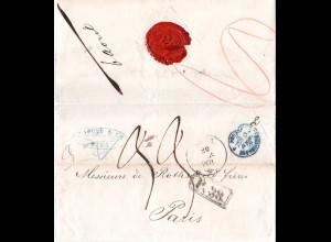 Russland Lettland 1871, K1 RIGA u. Vertragsstpl. P.38 auf Brief n. Frankreich