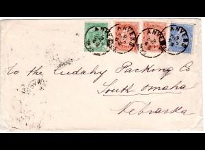 Belgien 1895, 5+2x10+25 C. auf attraktivem Brief v. Anvers n. South Omaha, USA