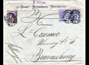 Belgien 1889, 3X25 C. auf Firmen Brief v. Brüssel n. Braunschweig