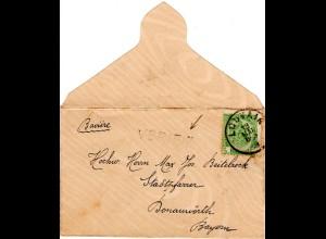 Belgien 1909, 5 C. auf Drucksache Brief v. Louvain m. L1 VERIFIÉ n. Bayern