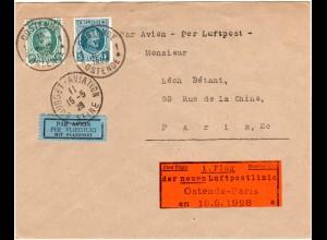 Belgien 1928, 10 C.+2 Fr. auf Erst Flug Brief Oostende-Paris m. Dewitz-Zettel