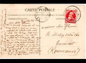 Belgien 1911, 10 C. auf Karte V. Brüssel n. Rumänien. Destination!