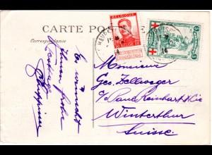 Belgien 1914, 5 C. Rot Kreuz u. 10 C. auf Karte d. Exil Regierung in Frankreich