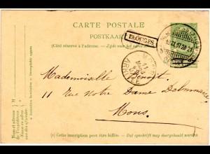 Belgien 1907, R1 ELOUGES auf 5 C. Ganzsache m. Stpl. Mons (Station).