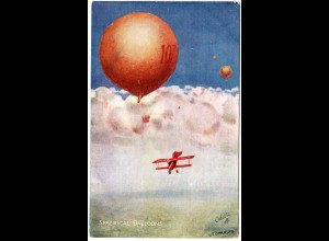 Sperical Balloons, ungebr. Künstler Farb-AK m. Fesselballon u. Flugzeug